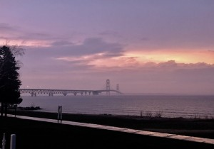 The Mackinac Bridge and Foggy dusk