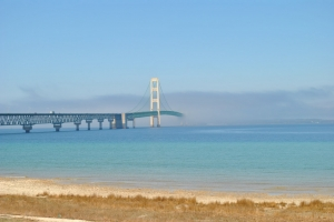 Bright Blue Water and Mackinac Bridge