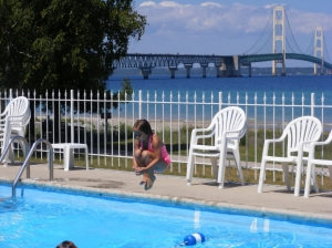 Girl Jumping in Riviera Motel Pool