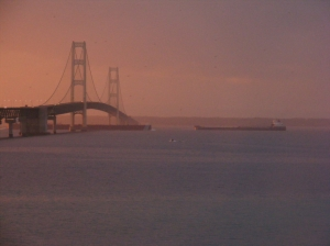 Mackinac Bridge and Barge
