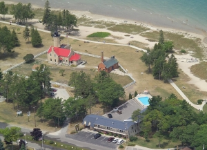 Motel and Mackinac Point Lighthouse Arial View
