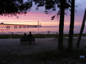 Park Bench Mackinac Bridge View