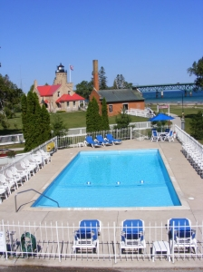 Riviera Motel Pool and Mackinac Point Lighthouse