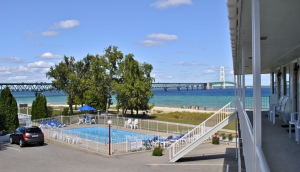 Riviera Motel Pool and the Mackinac Bridge
