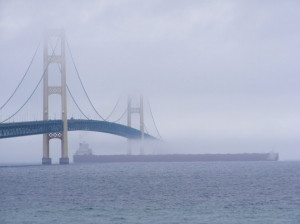 The Mackinac Bridge and Fog