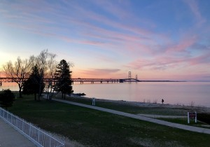 the Mackinac Bridge at dusk