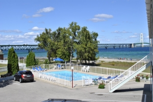 Pool and Mackinac Bridge